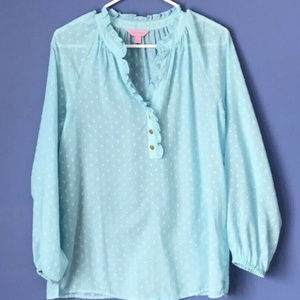 Lilly Pulitzer AQUA Pin Dot RUFFLE Elsa Top Blouse
